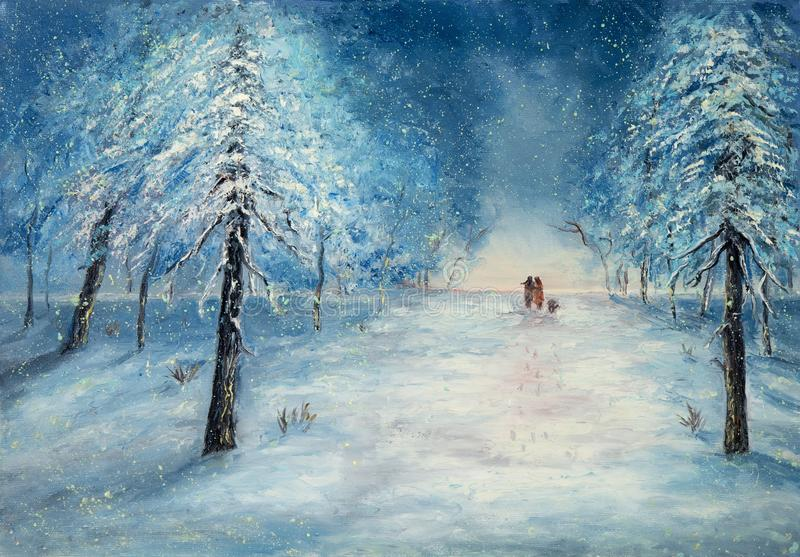 Walking in the snow. Original oil painting showing couple in love walking in park on canvas.Night winter scene. Modern Impressionism, modernism,marinism royalty free illustration