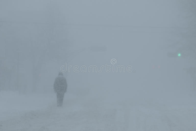 Walking in Snow Storm. An individual walks along the street in a winter snow storm while a green light is being shown at the traffic lights in whiteout winter royalty free stock photography