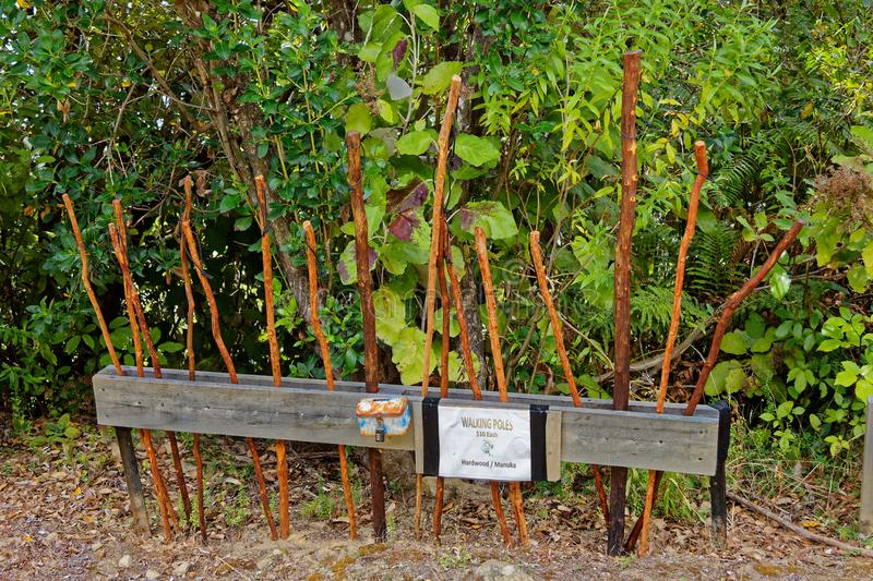 Walking sticks for sale. On the Queen Charlotte track, New Zealand stock photography