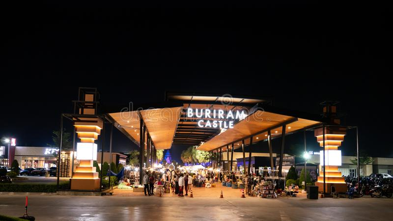 The Walking Street in Buriram Castle near Chang Arena stock photography