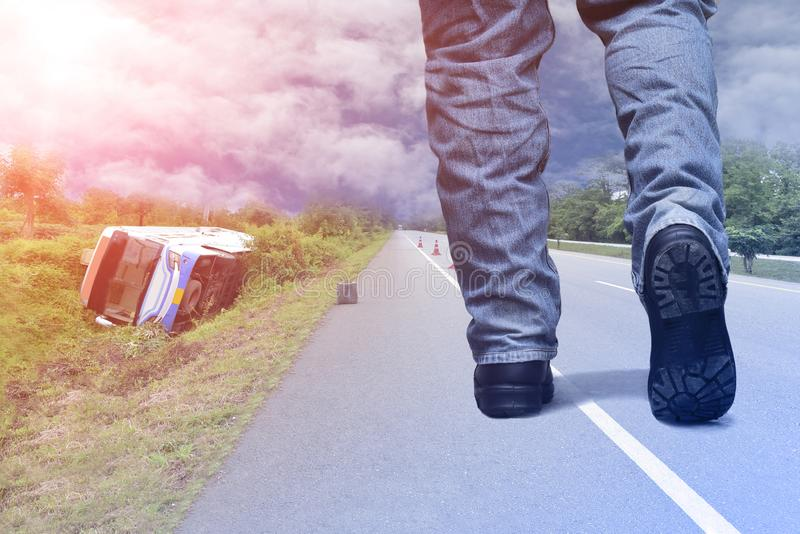 Walking on street on bus car accident royalty free stock photography