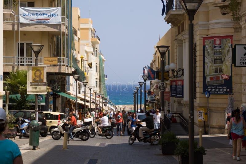 Walking Street Heraklion, leading to the seaport stock image