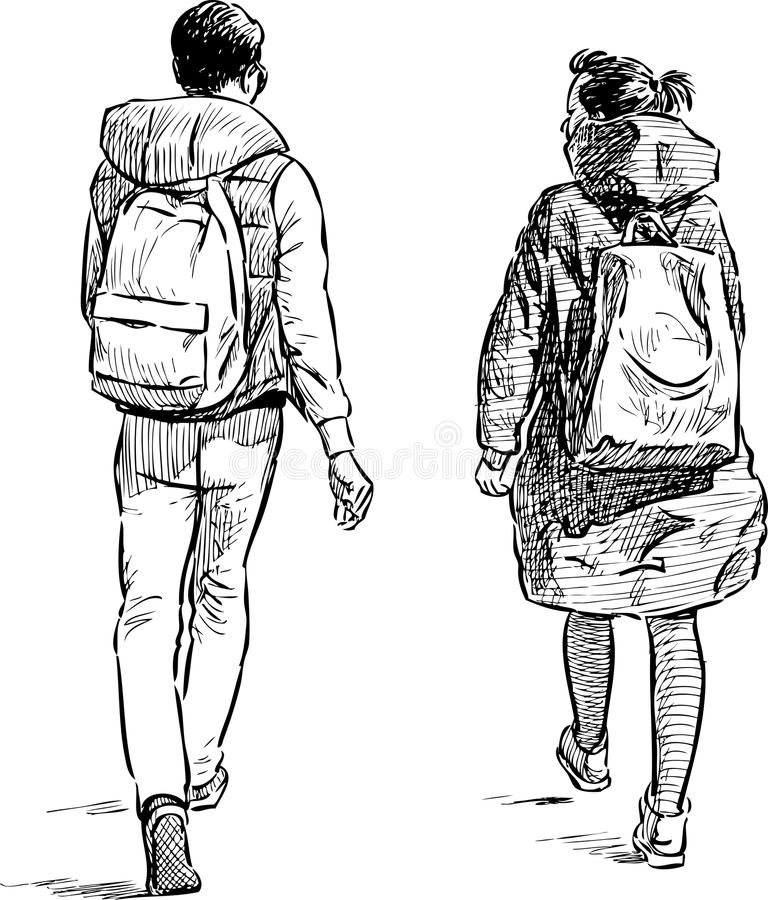 Walking students. Vector image of the young people on a stroll vector illustration