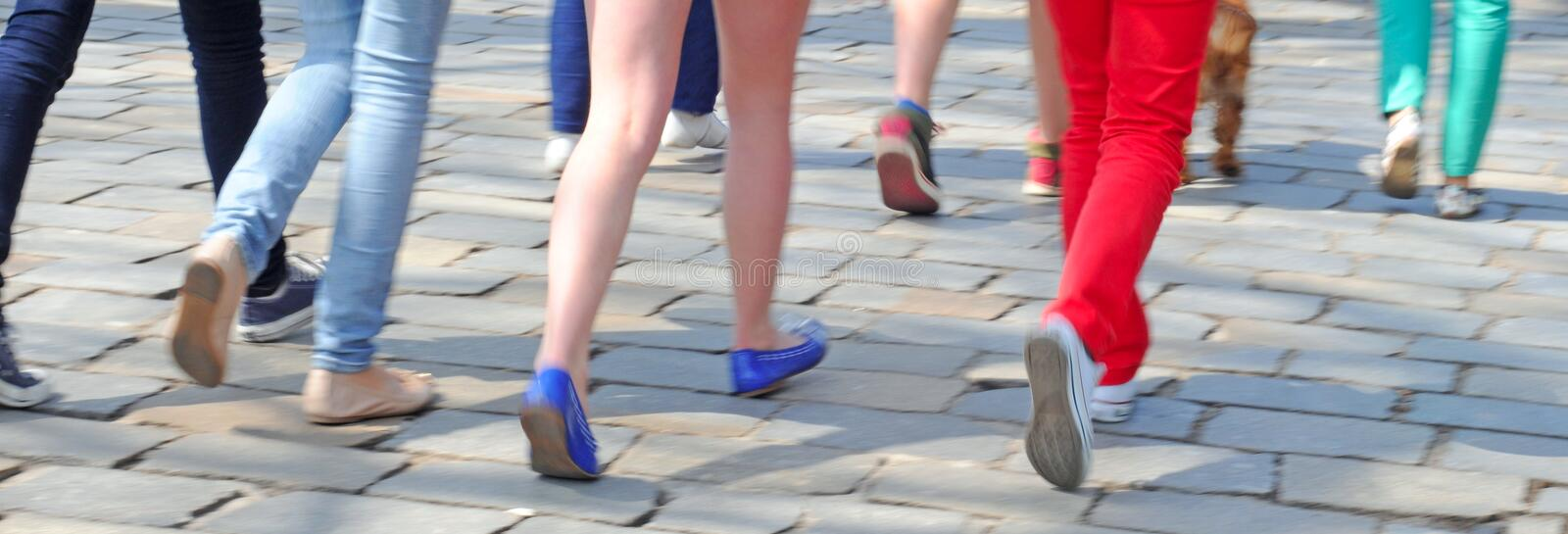 Walking. In summertime, intentional motion blur royalty free stock photos