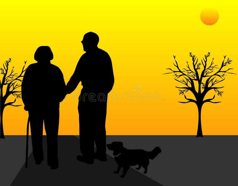 Walking Into The Sunset.... Royalty Free Stock Images