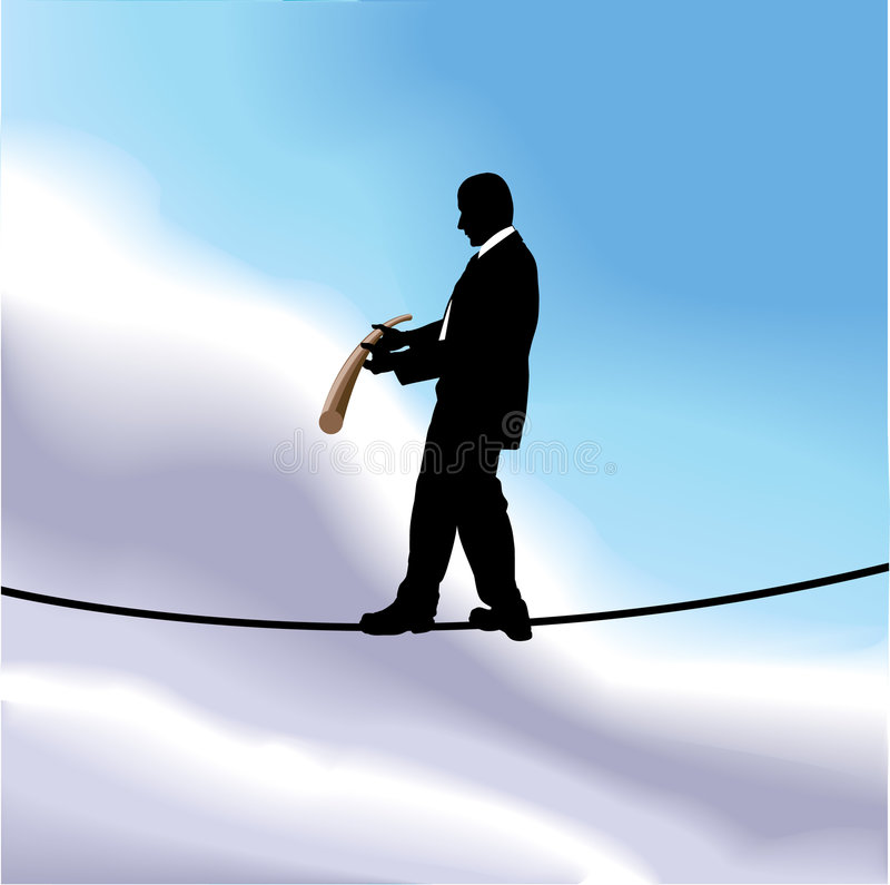 Walking the tightrope. A business man walking a tightrope high in the sky stock illustration