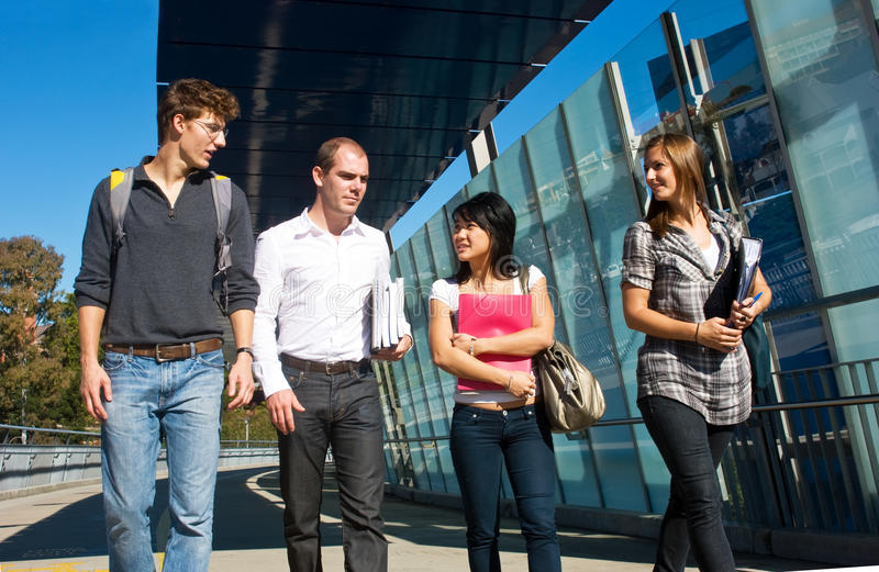 Download Walking to class stock image. Image of four, together - 13242723