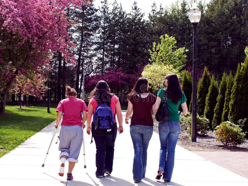 Walking to school. College girls walking on a path to class stock images