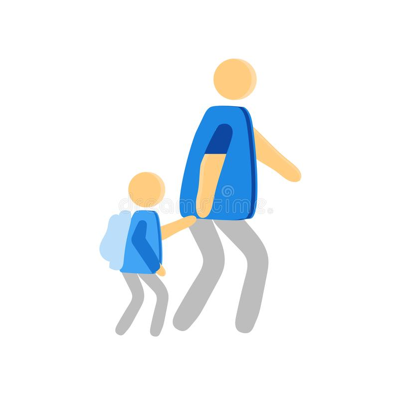 Walking to school icon vector sign and symbol isolated on white background, Walking to school logo concept. Walking to school icon vector isolated on white stock illustration