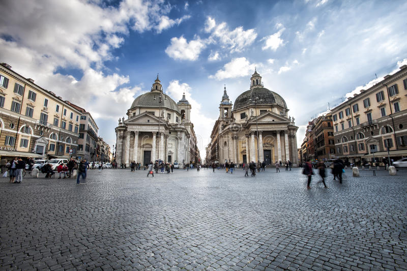 Walking tour Italy. Piazza del Popolo in Rome. Twin churches. Typical walking tour of the city of Rome, Italy. Peoples Square with the two Churches Twin. Via royalty free stock image