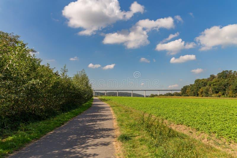 Ruhrtalbruecke near Muelheim, Germany. Walking towards the Ruhrtalbruecke Ruhr Valley viaduct near Muelheim, Ruhr Area, North Rhine-Westphalia, Germany royalty free stock images