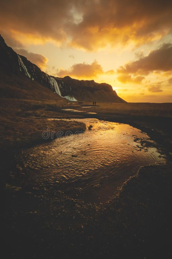 Walking towards the sunrise in Iceland stock photos