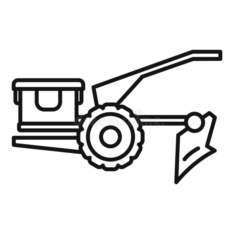 Walking tractor icon, outline style. Walking tractor icon. Outline walking tractor vector icon for web design isolated on white background stock illustration