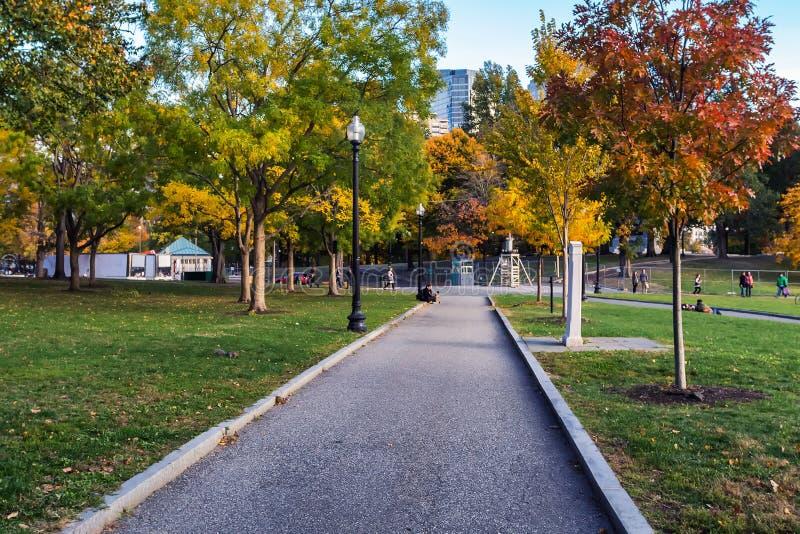 Walking trail in Boston Common park in fall season. USA royalty free stock image