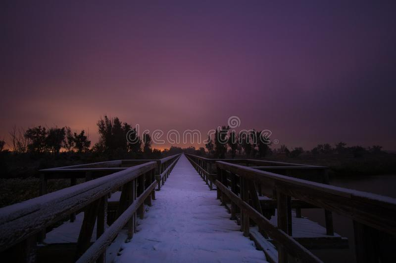 A Walking Trail Bridge over the Platte River royalty free stock photography