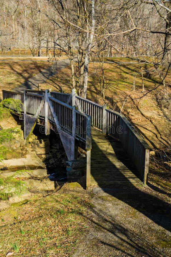 Walking Trail at the Smith Mountain Hydroelectric Dam. Sandy Level, VA – January 8th:Walking Trail around the picnic area at the Smith Mountain stock photo