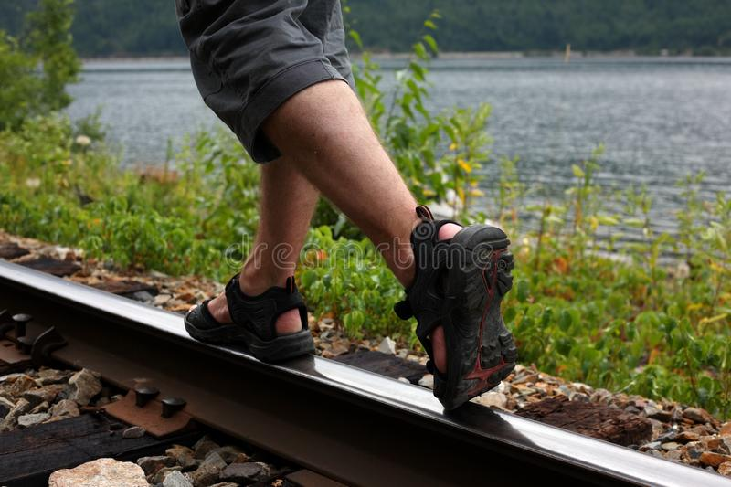 Walking On A Train Track Royalty Free Stock Photography
