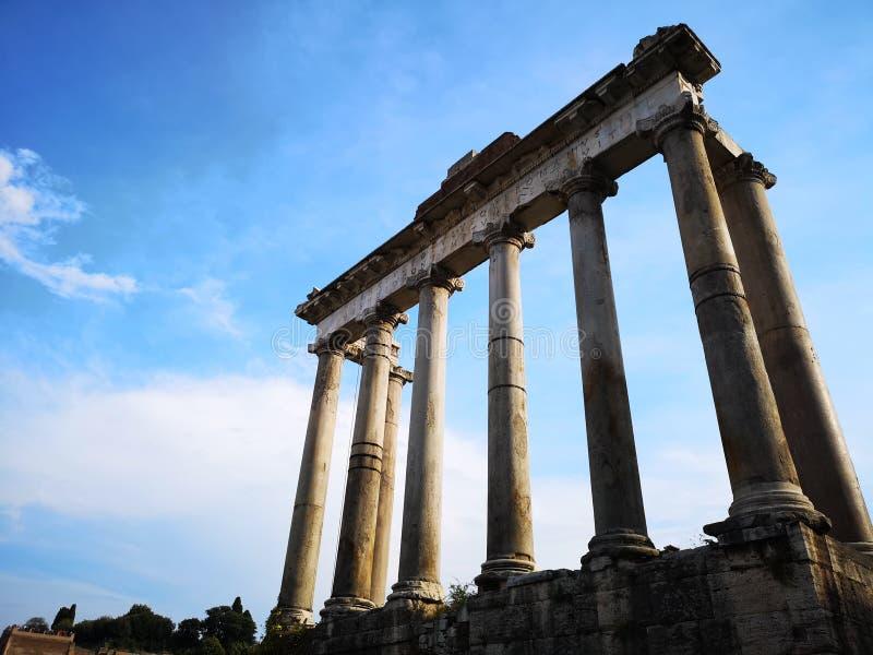 Roman ruins. Mont Palatino, ruins of Roman Forum. Walking trought the Mont Palatino, ruins of Roman Forum royalty free stock photo