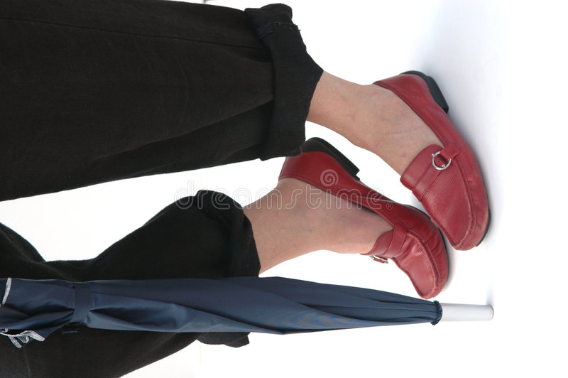 Download Walking With Umbrella And Red Shoes Stock Image - Image of active, roll: 174077