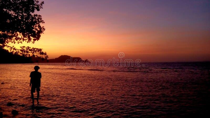 Walking under the sunrise. royalty free stock photos