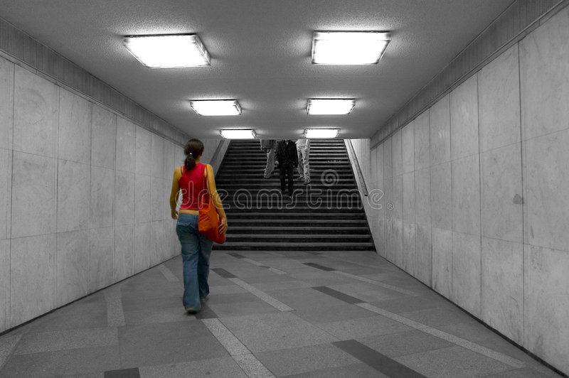 Walking in the underground stock photography