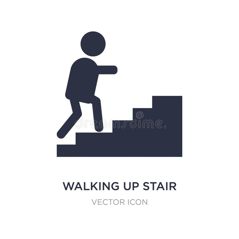 walking up stair icon on white background. Simple element illustration from Maps and Flags concept stock illustration