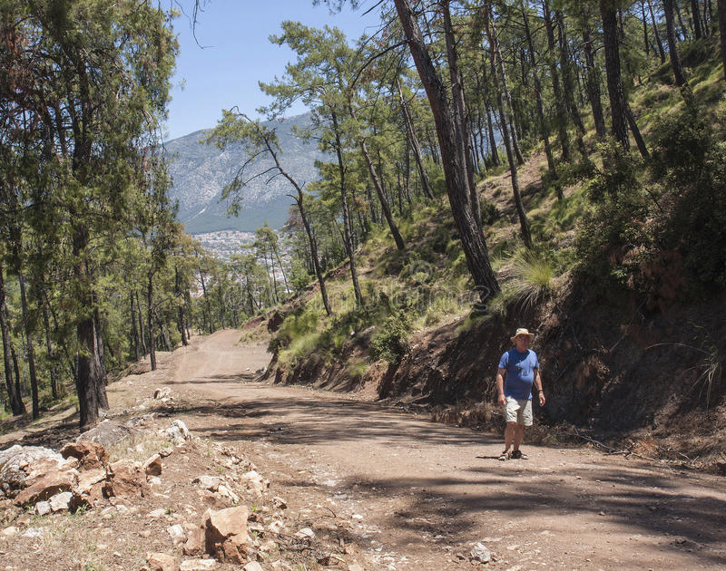 Walking uphill from Hisaronu, Turkey stock photos