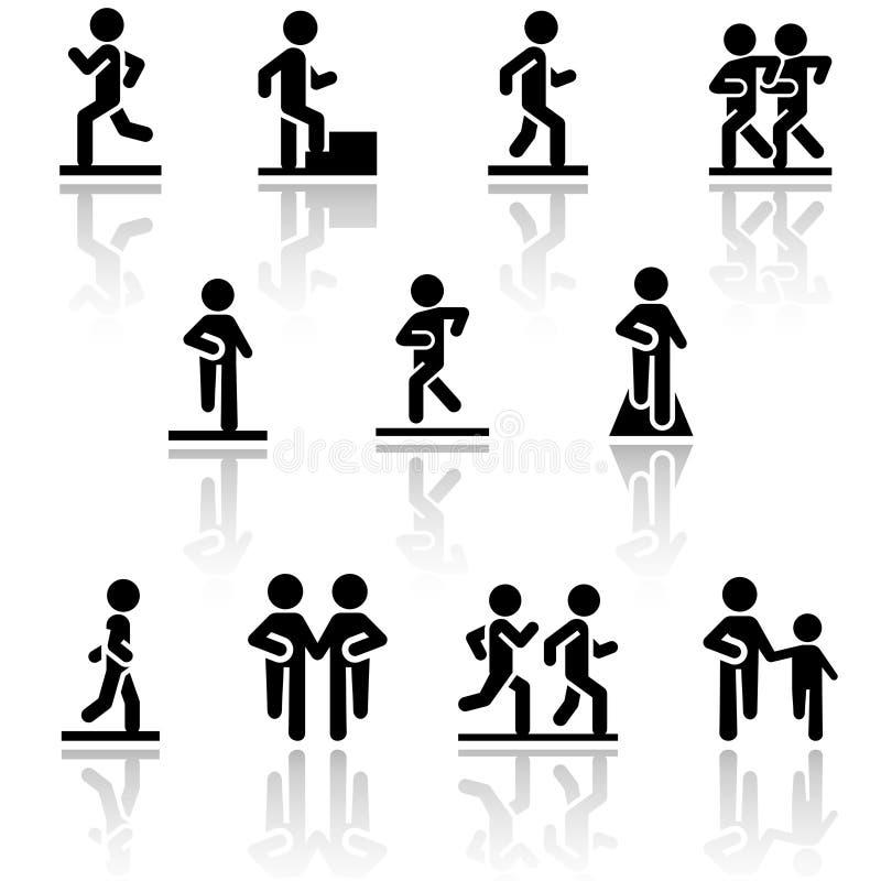 Walking vector icons set . EPS10. royalty free illustration
