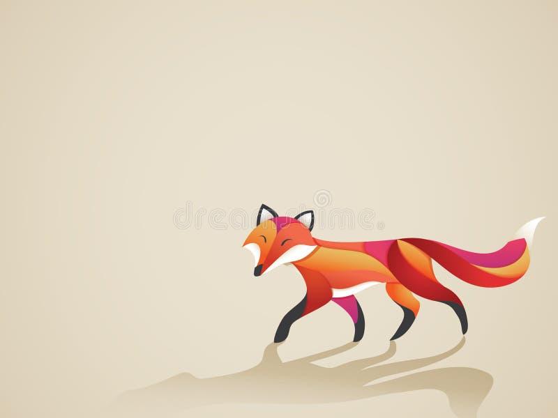 Walking vibrant fox. Cartoon illustration of a vibrant fox vector illustration