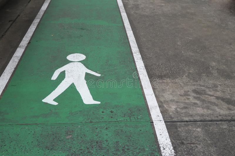 Walking way for the safety of traveling. Symbol for pedestrian paths. royalty free stock images