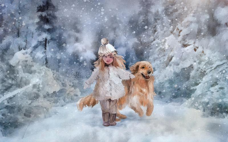 Walking in the winter park. Little girl walking with golden retriever. Hand drawing