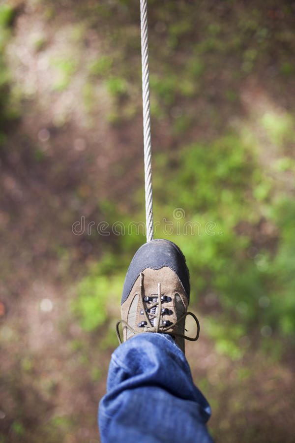 Walking in wires stock images