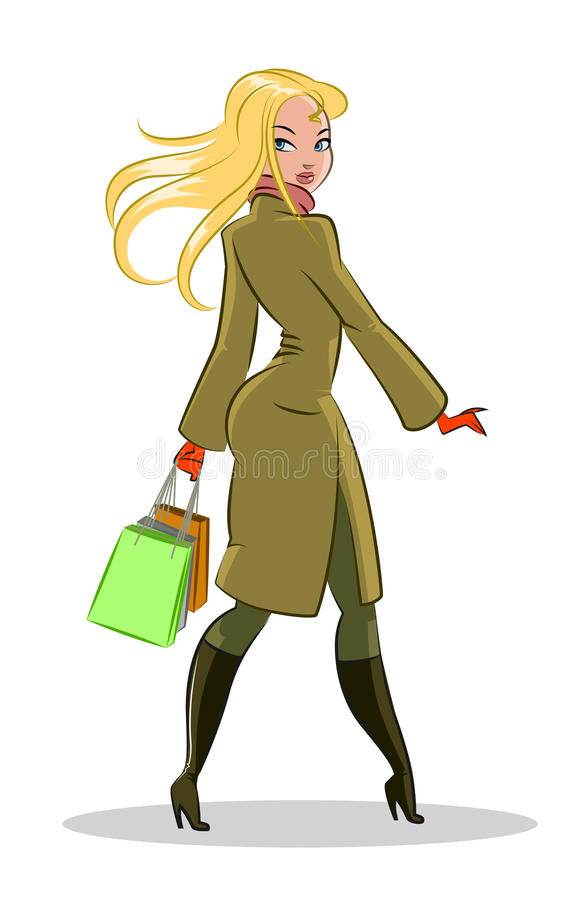 Walking woman royalty free illustration