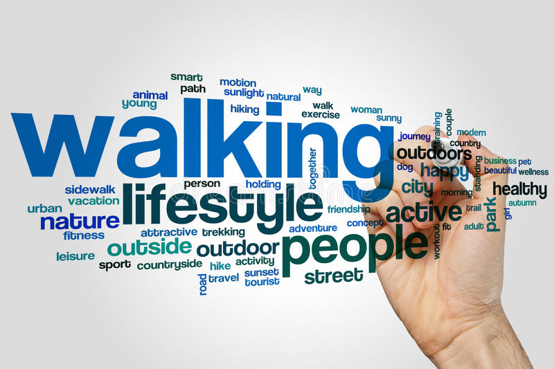 Walking word cloud. Concept on grey background royalty free stock photos