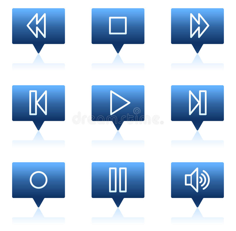 Walkman web icons, blue speech bubbles series. Vector web icons set. Easy to edit, scale and colorize vector illustration