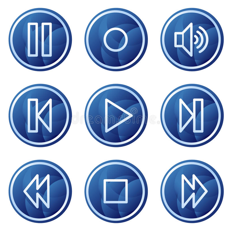 Walkmanweb-Ikonen, blauer Kreis knöpft Serie lizenzfreie abbildung