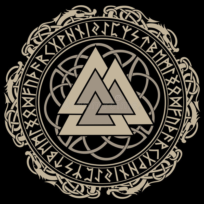 Walknut, segno di Dio Odin, decorato con gli ornamenti in una corona delle rune scandinave dei norvegesi e di tessitura illustrazione di stock
