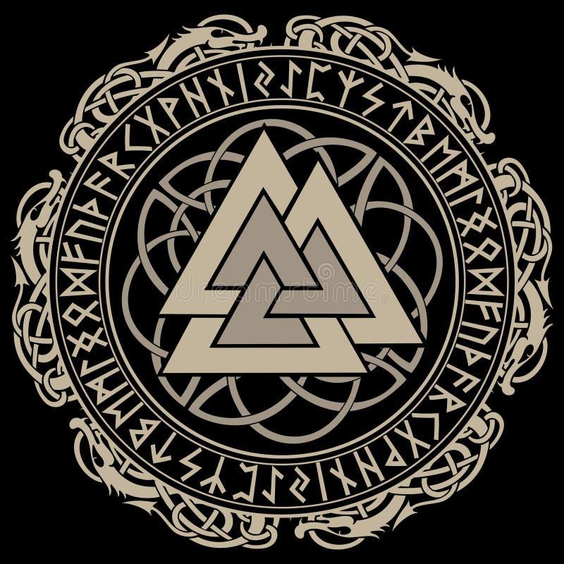 Walknut, Zeichen des Gottes Odin, verziert mit Verzierungen in einem Kranz von skandinavischen Spinnen und Skandinavierrunen stock abbildung