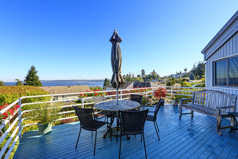 Walkout deck with patio area overlooking scenic bay view in Federal Way, WA stock image