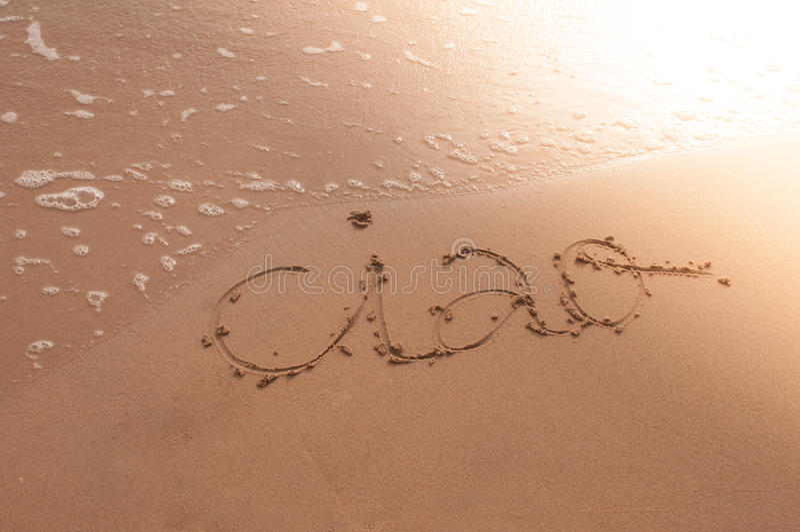 Walkower pisać na piasku obrazy stock