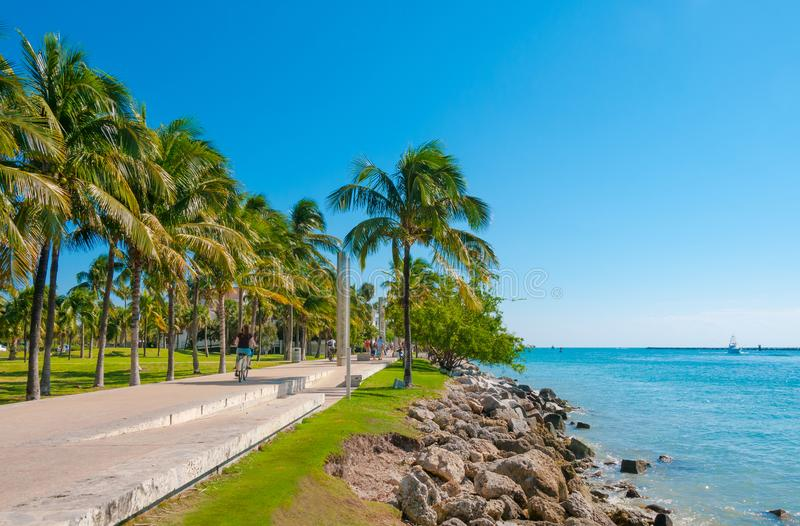 Walkway in a the beautiful park South Pointe in Miami Beach, Flo royalty free stock photo