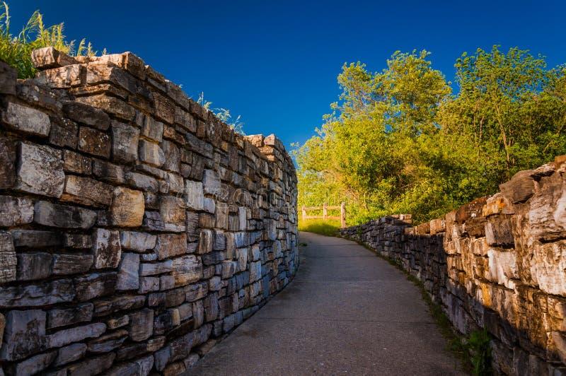 Walkway through brick walls at Antietam National Battlefield. Maryland stock photos