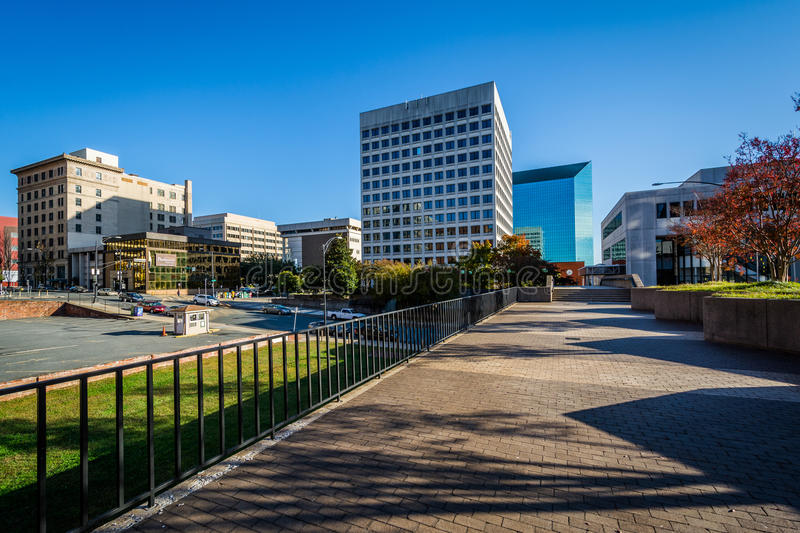 Walkway and buildings in downtown Winston-Salem, North Carolina. stock photography