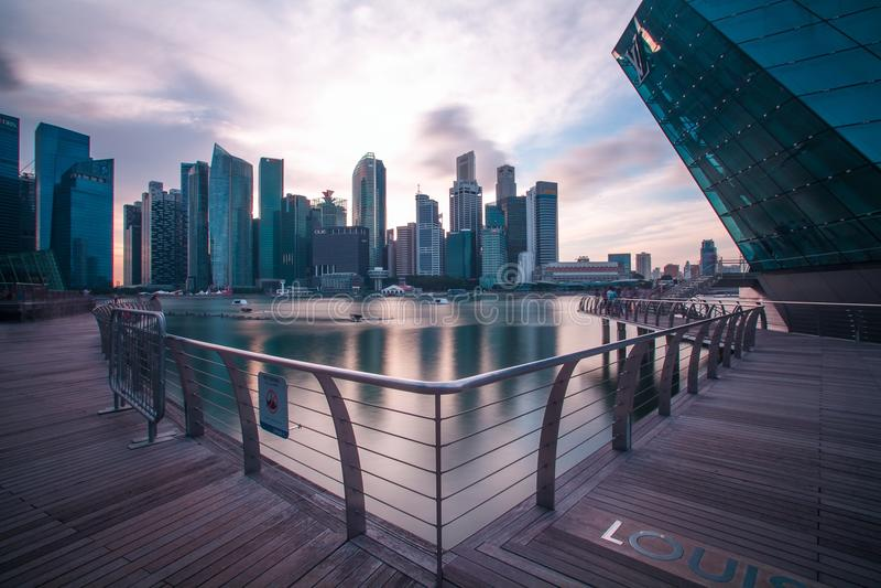 Walkway and city waterfront stock photo
