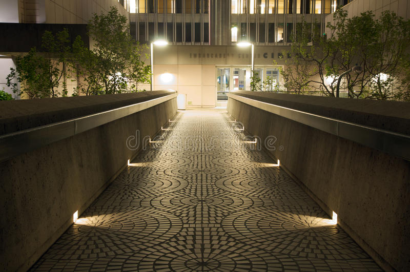 Walkway in downtown san francisco at night
