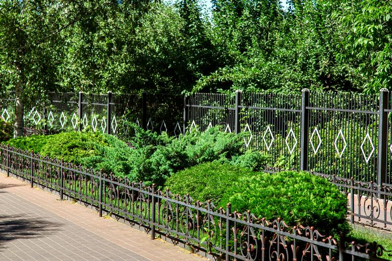 Walkway with flowerbed fenced wrought iron fence. stock photo