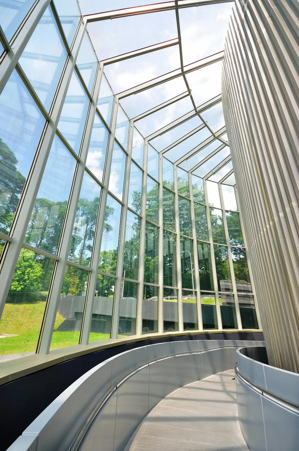 Walkway with glass walls royalty free stock photography