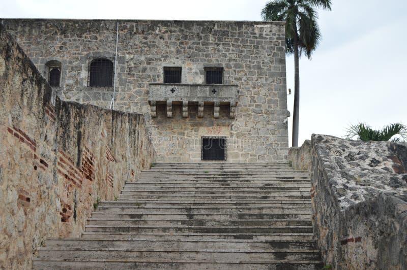 Walkway in historic Center of Santo Domingo. royalty free stock image