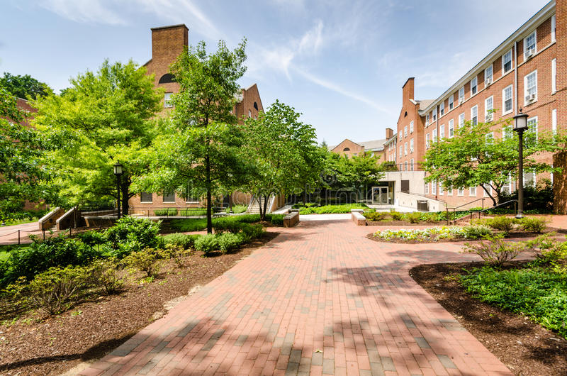 Walkway - Johns Hopkins University - Baltimore, MD. Johns Hopkins University is an American private research university in Baltimore, Maryland. Founded in 1876 royalty free stock image