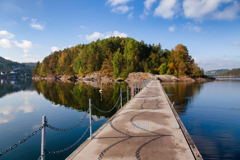 Walkway to Kattoya island from Olavsberget bathing place at Eidangerfjord near Porsgrunn Telemark Norway Scandinavia. Walkway between the Kattoya island and stock photography